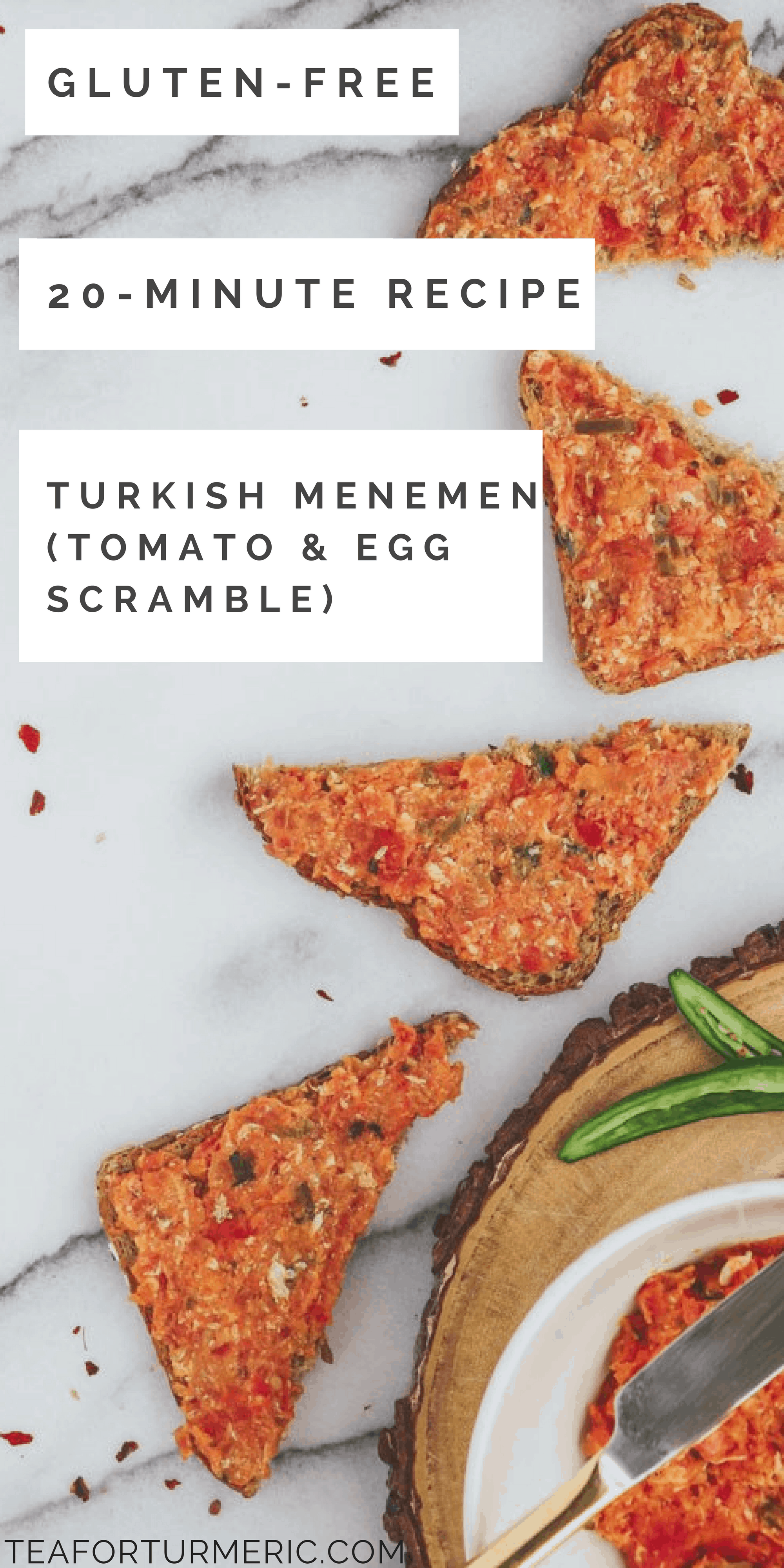 Turkish Menemen is a traditional Turkish breakfast that\'s made with simple ingredients like peppers, tomatoes, and eggs. Yet the combination of flavors and style of cooking lends it an extra special taste. This is the perfect 20-minute breakfast that\'s perfect for any day of the week. Nutritious and delicious!