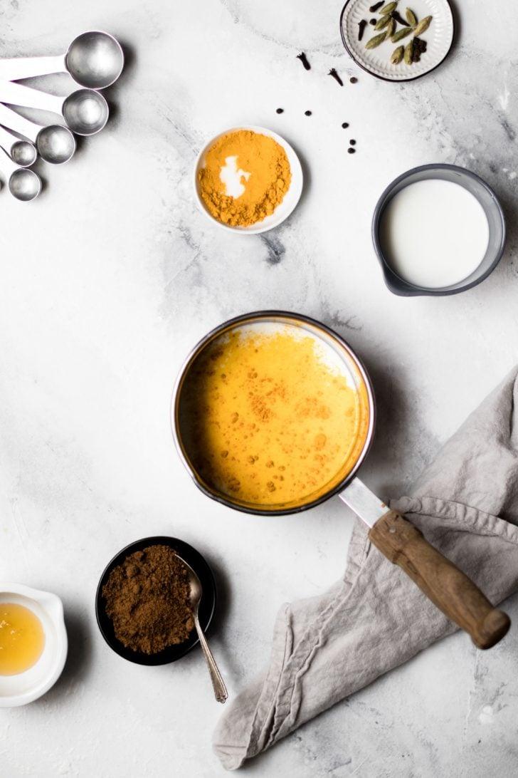 Pot of Authentic Turmeric Milk