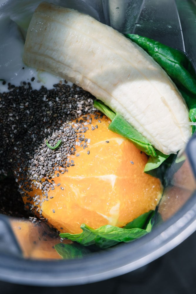 Iron-Boosting Orange Green Smoothie ingredients.