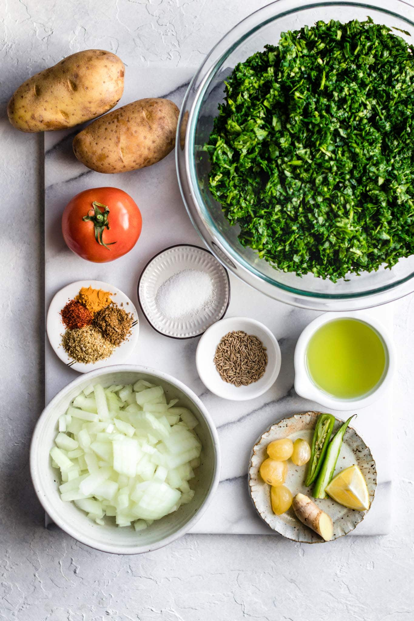 Ingredients in Spinach and Potato Curry (Aloo Palak)