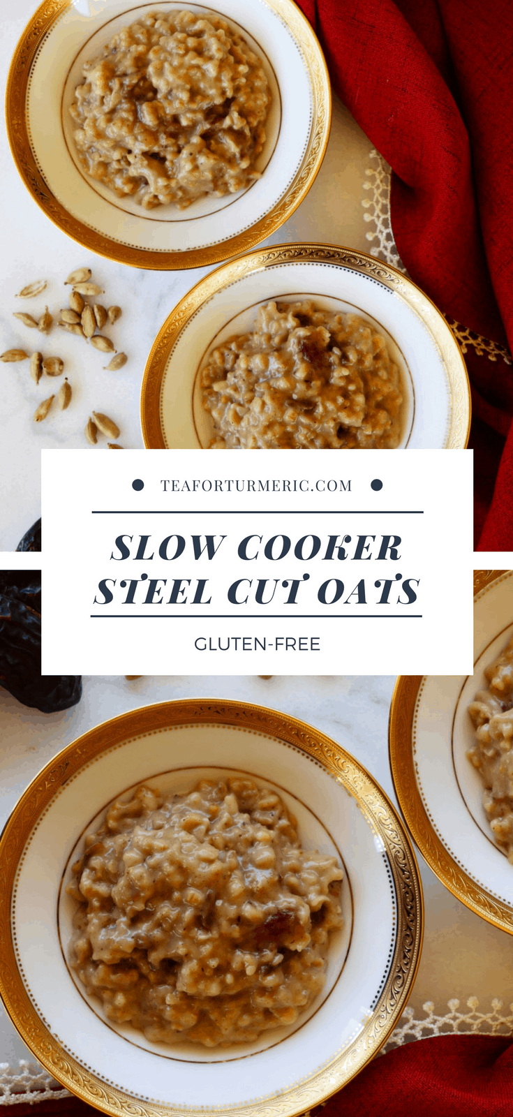 These Date-Sweetened Slow Cooker Steel Cut Oats are the perfect overnight breakfast. Full of fiber and nutrients, this is a healthy set-and-forget recipe that actually tastes wonderful!  #slowcooker #breakfastrecipes