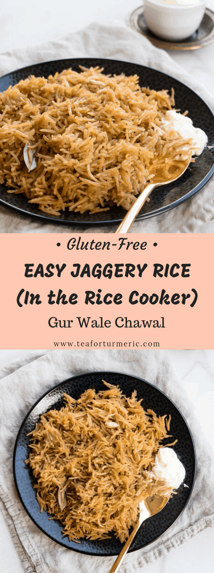 Jaggery Rice is a traditional South Asian dessert recipe that sweetens rice with an unrefined sugar called jaggery (or gur). This rice cooker recipe is gluten-free, easy to make, and yields perfect results! #ricecookerrecipe #jaggery #jaggeryrice