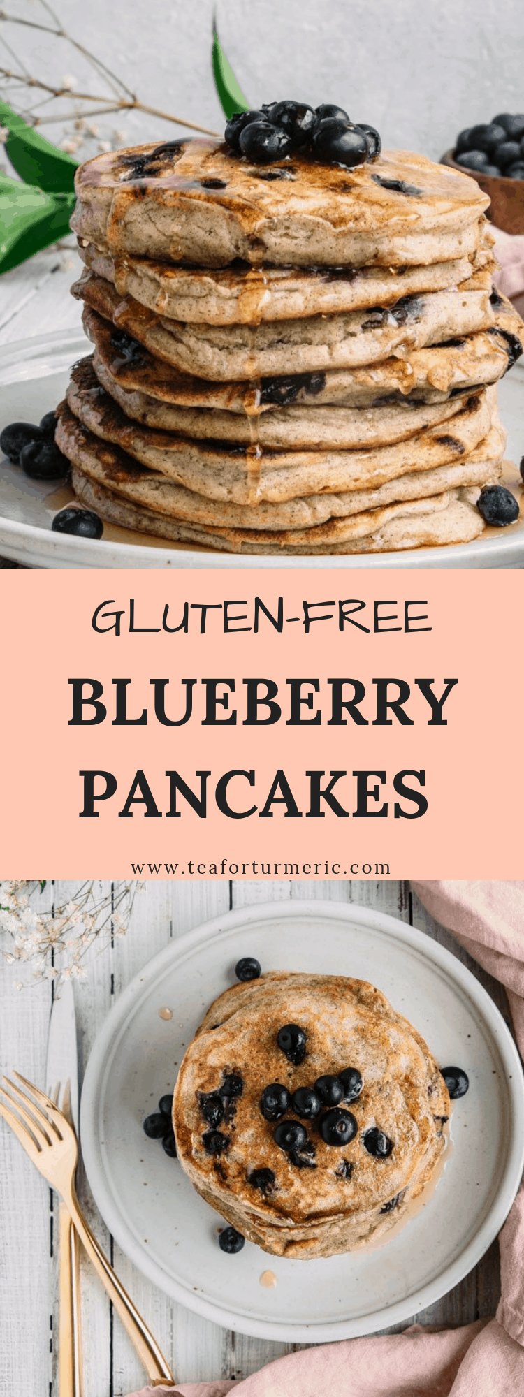 This gluten-free blueberry pancakes recipe is perfect for a weekend brunch and is also a great recipe for kids! #glutenfreepancakes #glutenfree