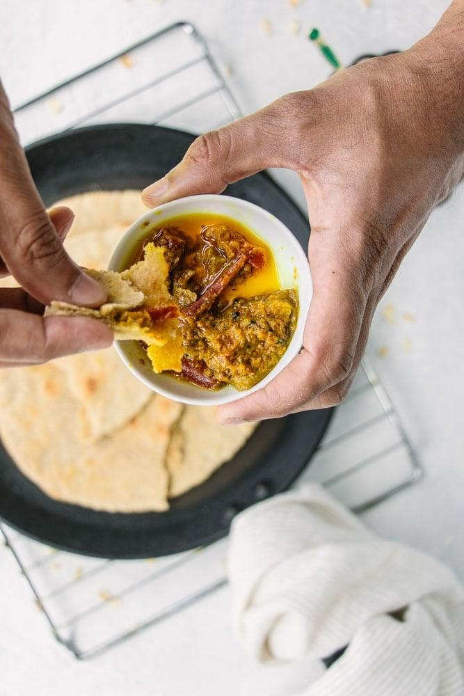 Gluten-Free Oat Flour Roti with Achaar