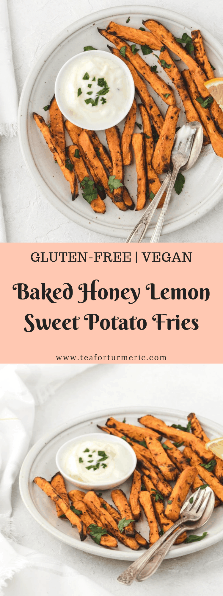 These baked honey lemon sweet potato fries are an easy and healthy snack, side dish, or appetizer. Don\'t miss the layers of flavor of my sweet and savory honey lemon sauce! #sweetpotatofries #frenchfries via @teaforturmeric
