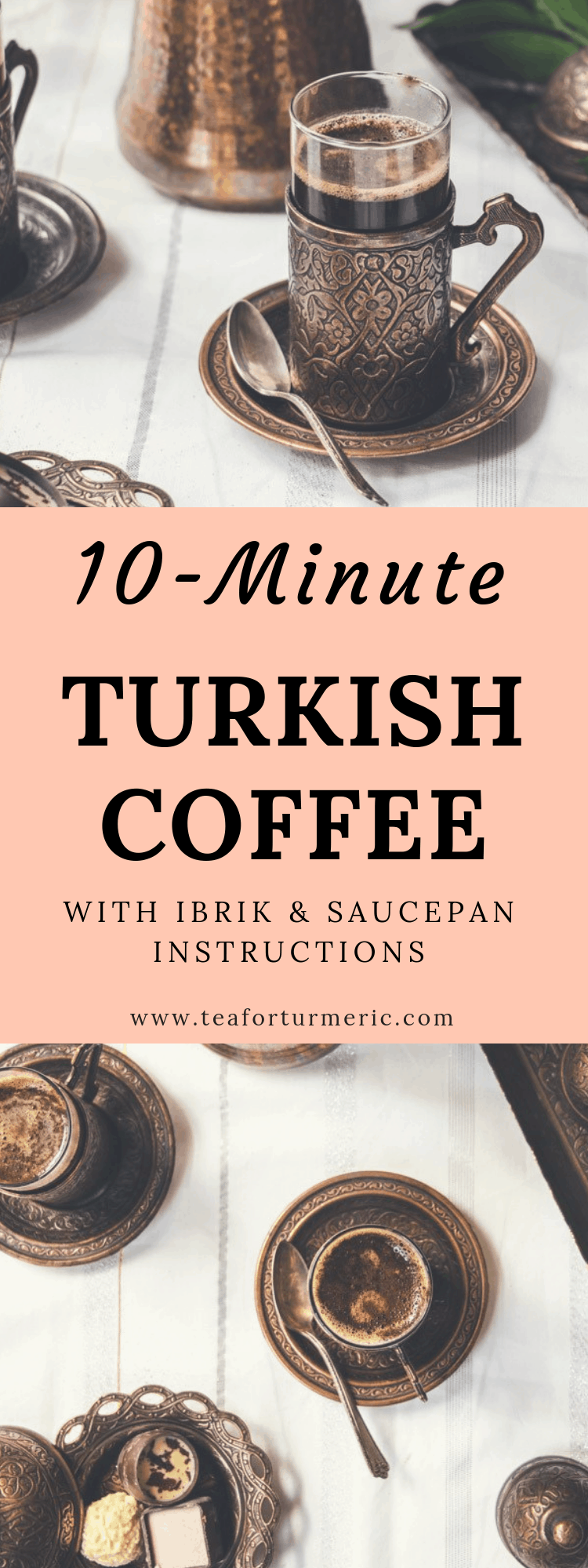 Learn How To Make Turkish Coffee! This recipe includes directions on how to make Turkish coffee with or without a traditional Turkish coffee pot (ibrik). #turkishcoffee #coffee