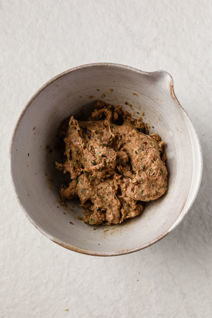 Blended, kneaded mixture for Seekh kebab ready to be shaped