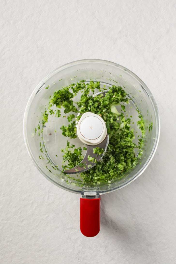 Chopped onion, cilantro, mint, and green chili pepper in a food processor