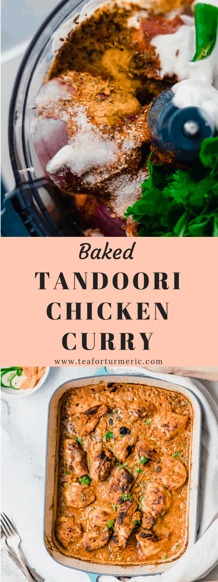This Baked Tandoori Chicken curry is so easy to prepare (just blend the ingredients in a food processor, marinate, & bake) and perfect for guests! #chickencurry #bakedchicken #bakedcurry #tandoorichicken