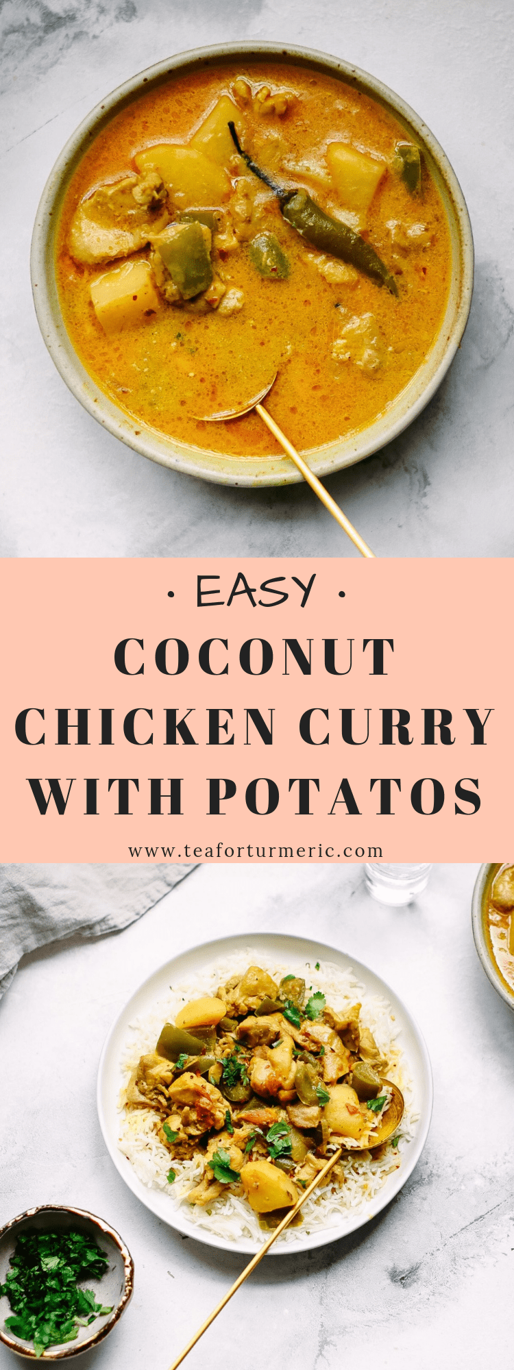 This coconut chicken curry with potatoes is made from scratch in the Pakistani & North Indian style but uses coconut milk to give it a korma-like finish. This recipe uses clean, wholesome ingredients and good-for-you spices that you likely have on hand!