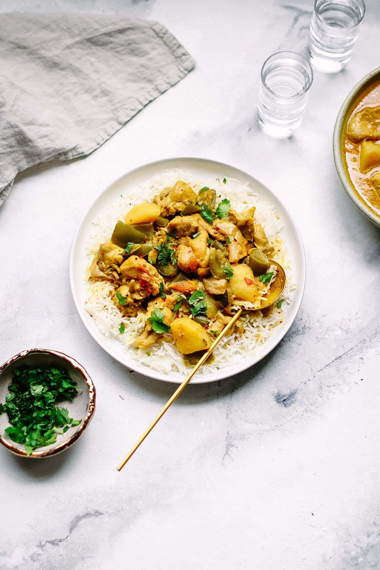 Coconut Chicken Curry with Potatoes and Bell Peppers