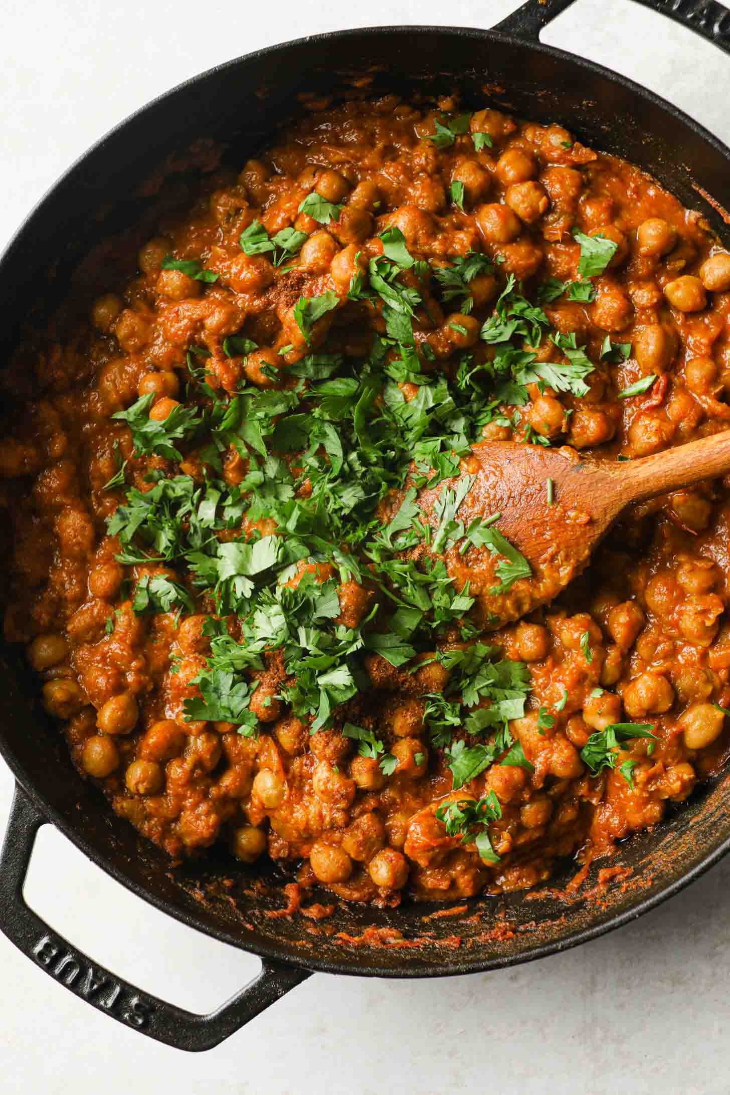 The finished Chickpea Curry garnished with chopped cilantro