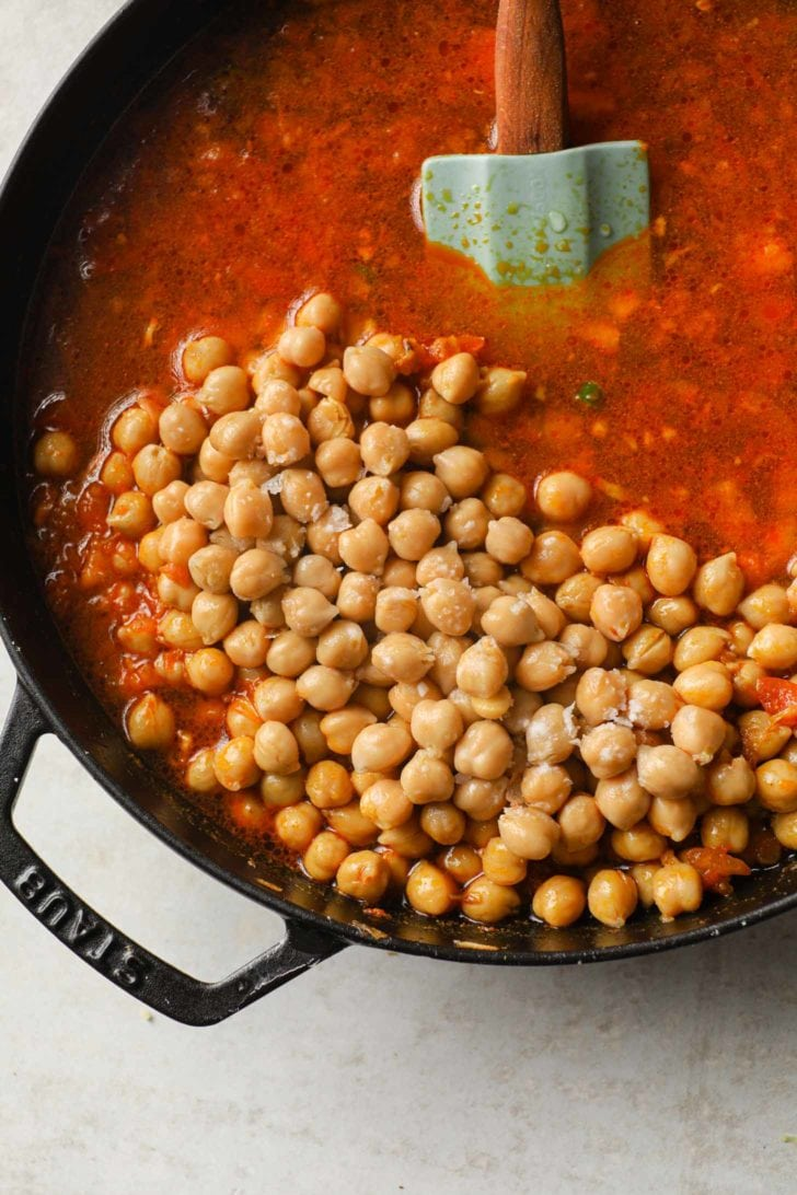 chickpeas in a skillet ready to be cooked