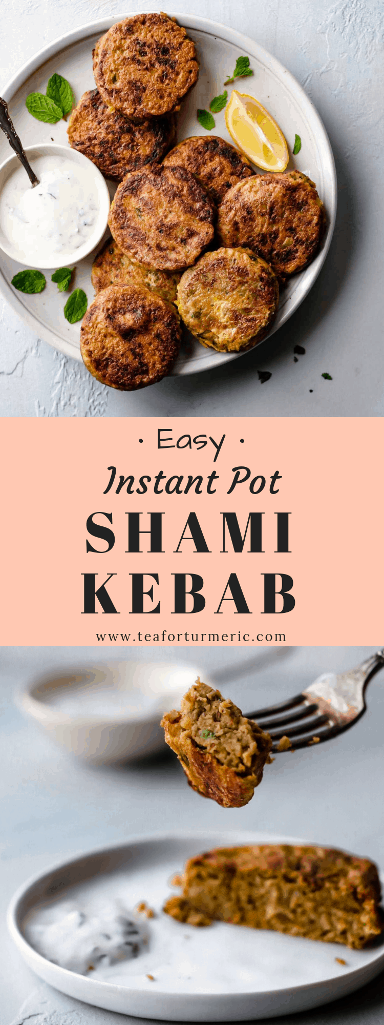 Shami kebabs are Pakistani/Indian tender beef patties filled with yellow split peas (chana dal), onion, ground spices, and herbs, then dipped in eggs and pan-fried. This easy recipe includes Instant Pot and Stovetop instructions. This recipe makes a large batch to enjoy some now, and freeze the rest for later! Naturally gluten-free!