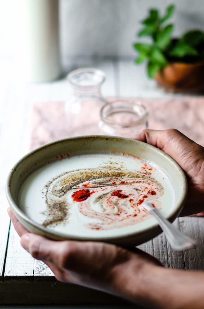 Holding yogurt with spices in a grey bowl