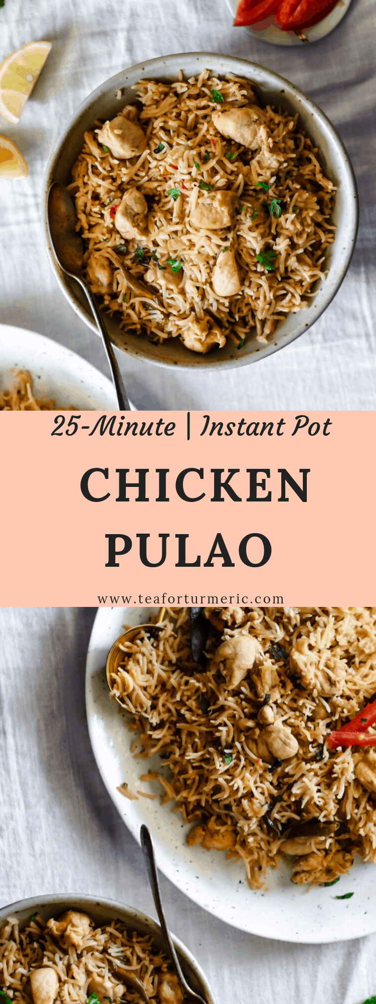 Pulao, or pilaf, is a delicately flavored rice dish popular in Pakistani and Indian cooking. This Instant Pot Chicken Pulao recipe requires just 25 minutes of prep time and results in tender boneless chicken and perfectly cooked rice.