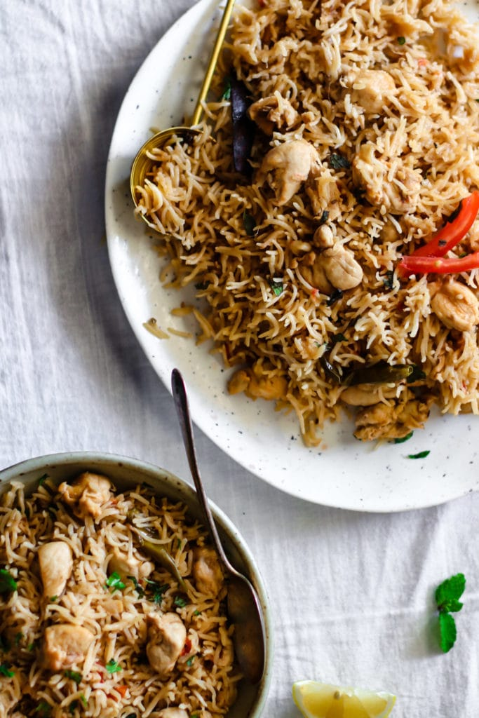 Close up of a platter of Instant Pot Chicken Pulao.
