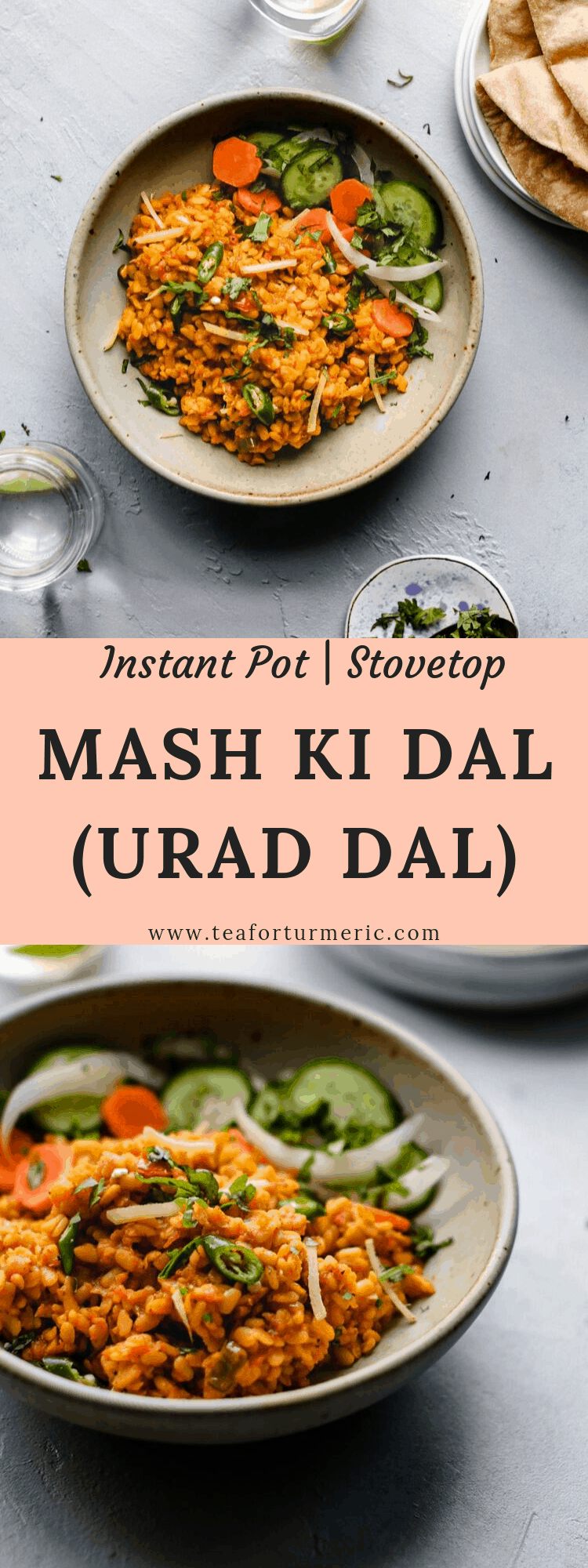 Maash ki Daal, or sukhi (dry) split urad dal - INSTANT POT and STOVETOP recipes included. This recipe makes Maash dal in the traditional Pakistani and Punjabi way - dry, as in firm, but cooked through - and adorned with delicate slivers of ginger and warming green chili peppers.