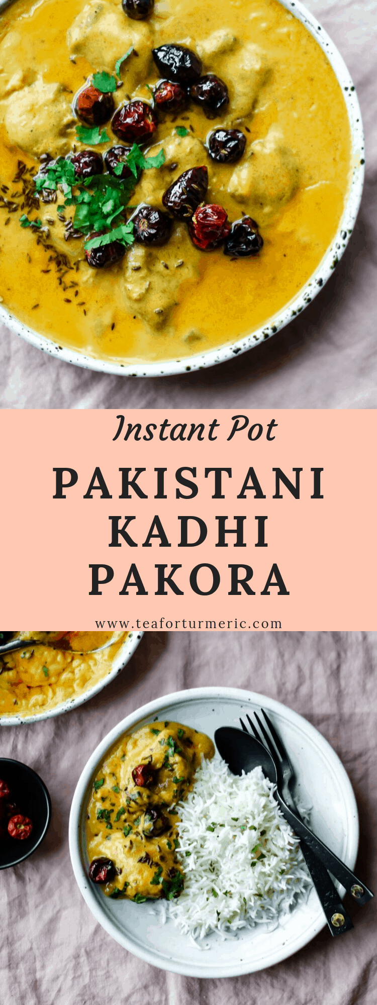 Instant Pot Kadhi Pakora! Instead of hours over the stove, this classic Kadhi needs 30 minutes in the Instant Pot. This recipe uses accessible ingredients and has a shortened cook time but remains true to the flavors of traditional Pakistani and North Indian Kadhi.