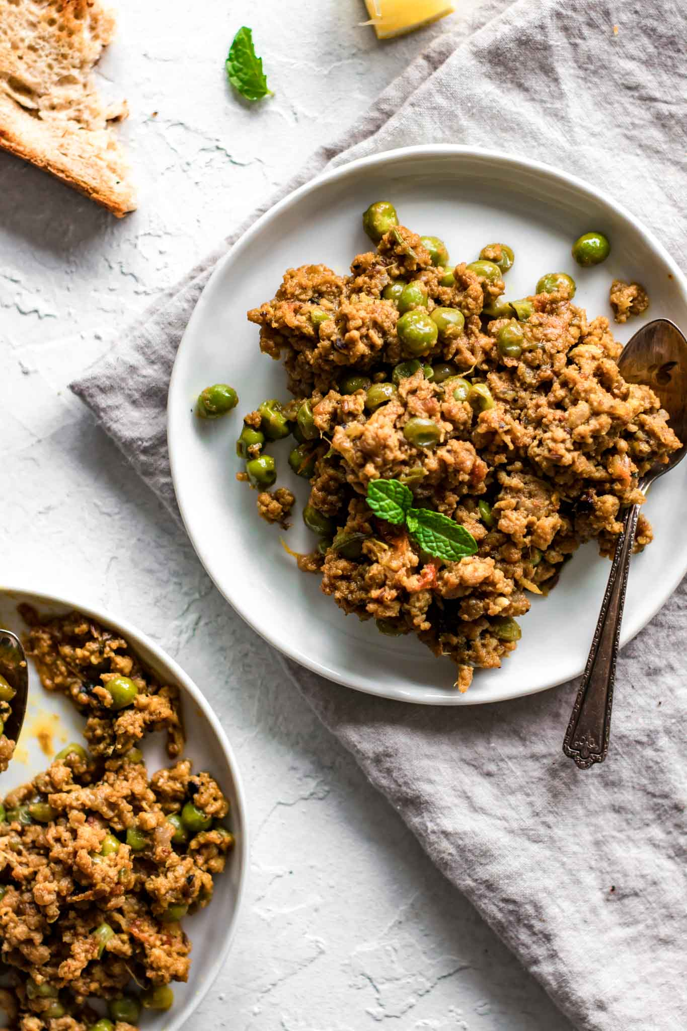 Keema Matar on a plate with a spoon