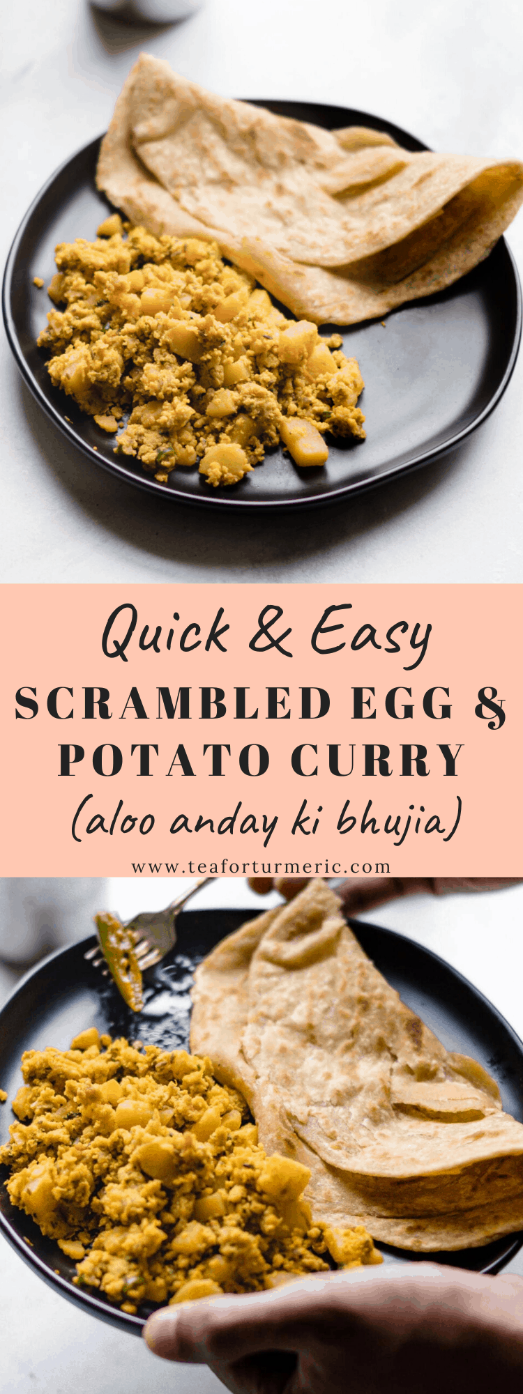 Scrambled Egg and Potato curry (Aloo Anday ki Bhujia) recipe made with ingredients you likely have on hand. Quick, easy, and perfect for dinner or breakfast! #vegetarian #1pot