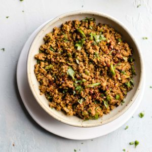 Instant Pot Keema in a Bowl garnished with cilantro and red chili flakes