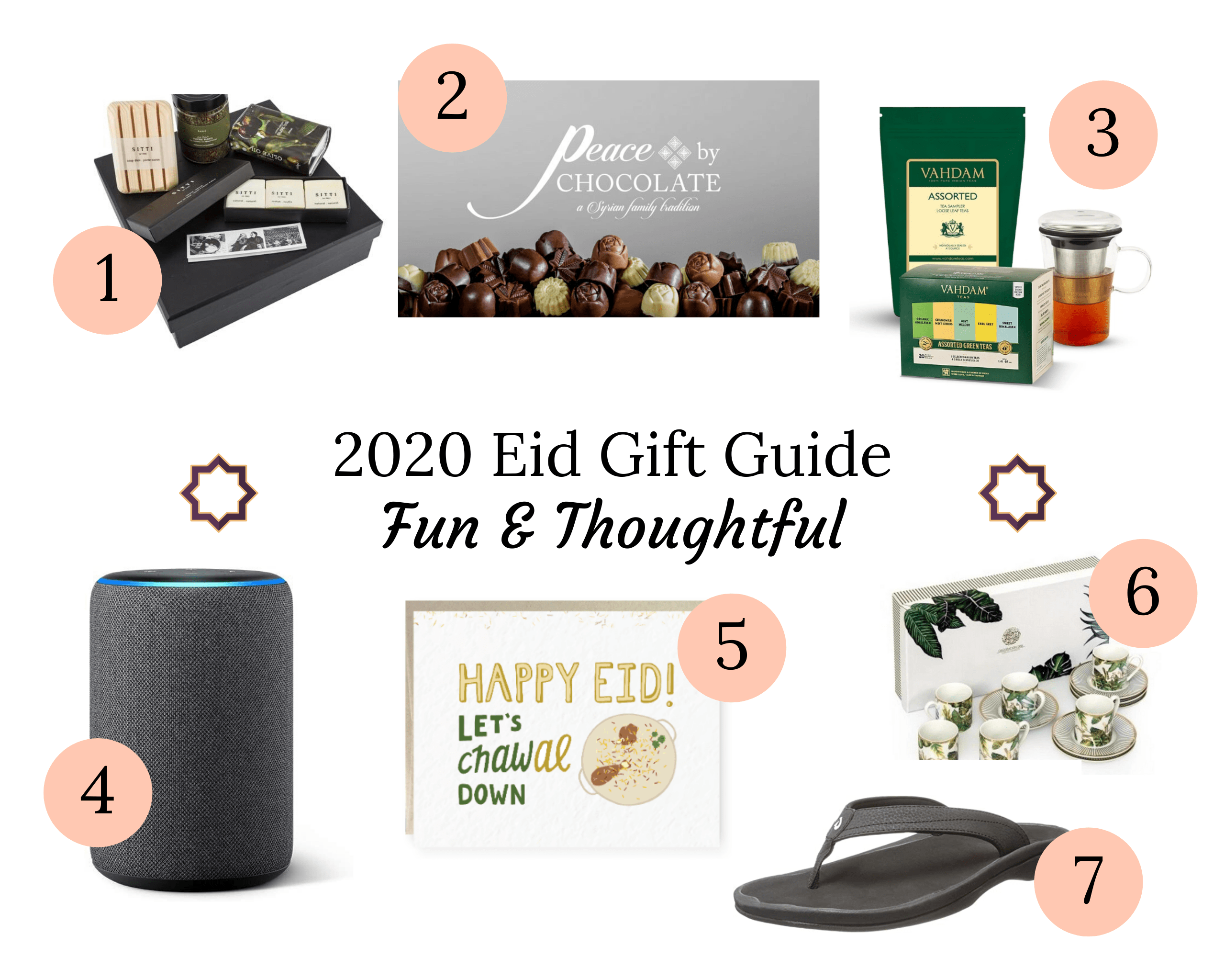 Fun and Thoughtful Eid Gift Guide Items in a collage