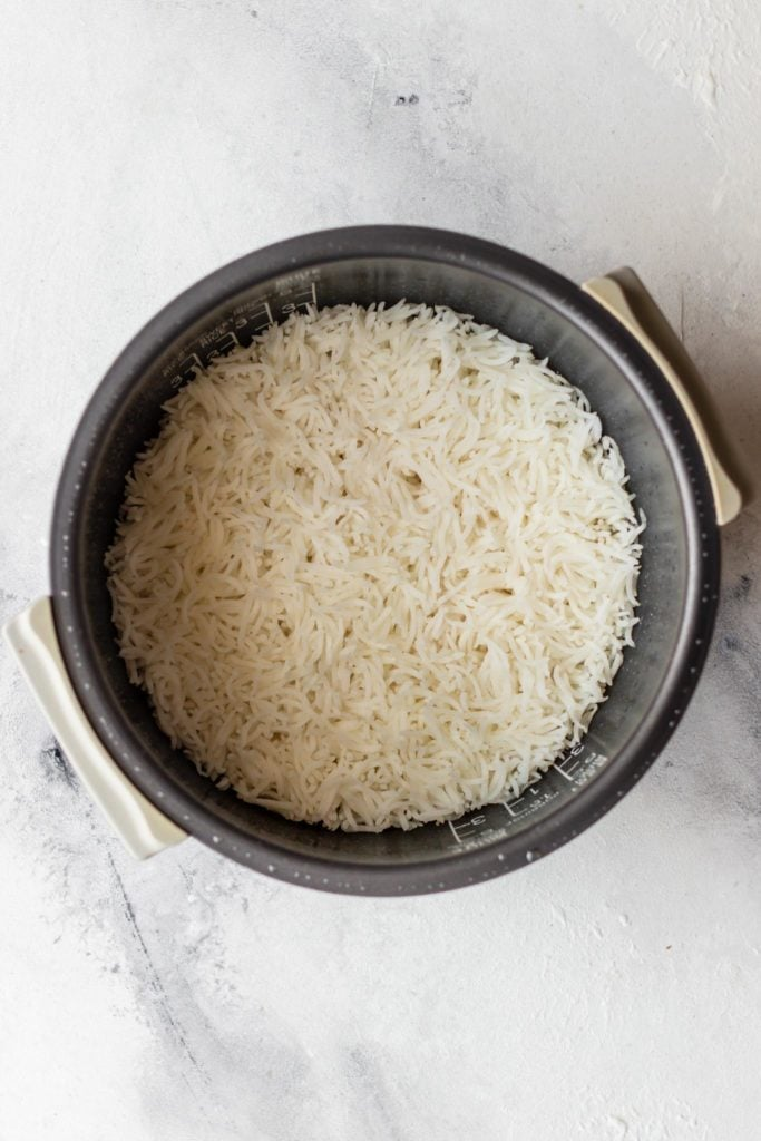 Basmati rice in the rice cooker bowl