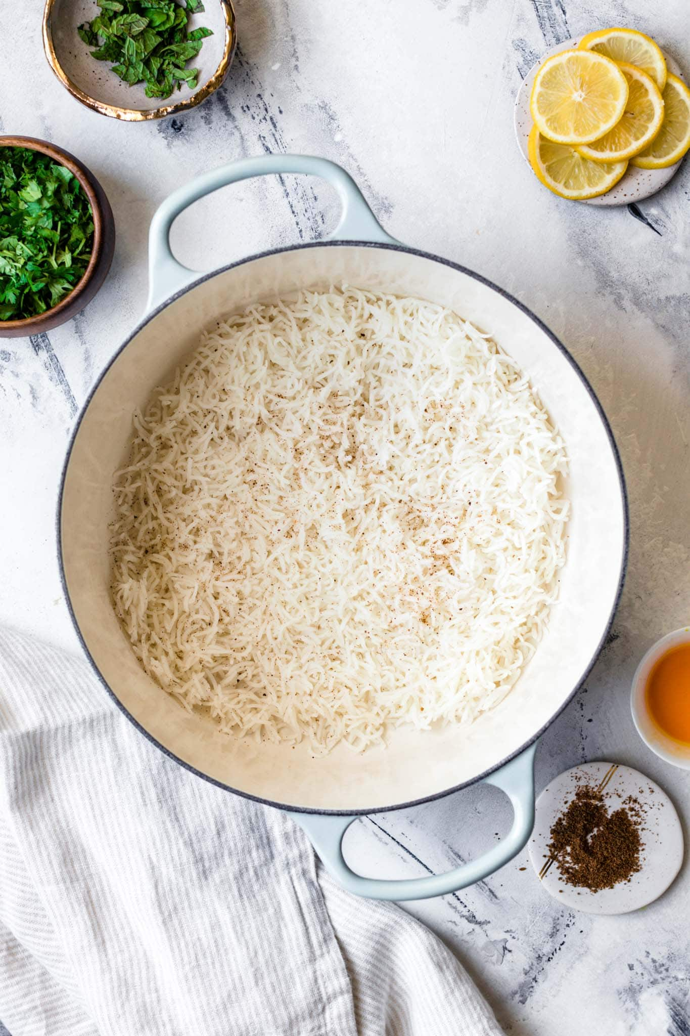 Layering Rice for Chicken Biryani