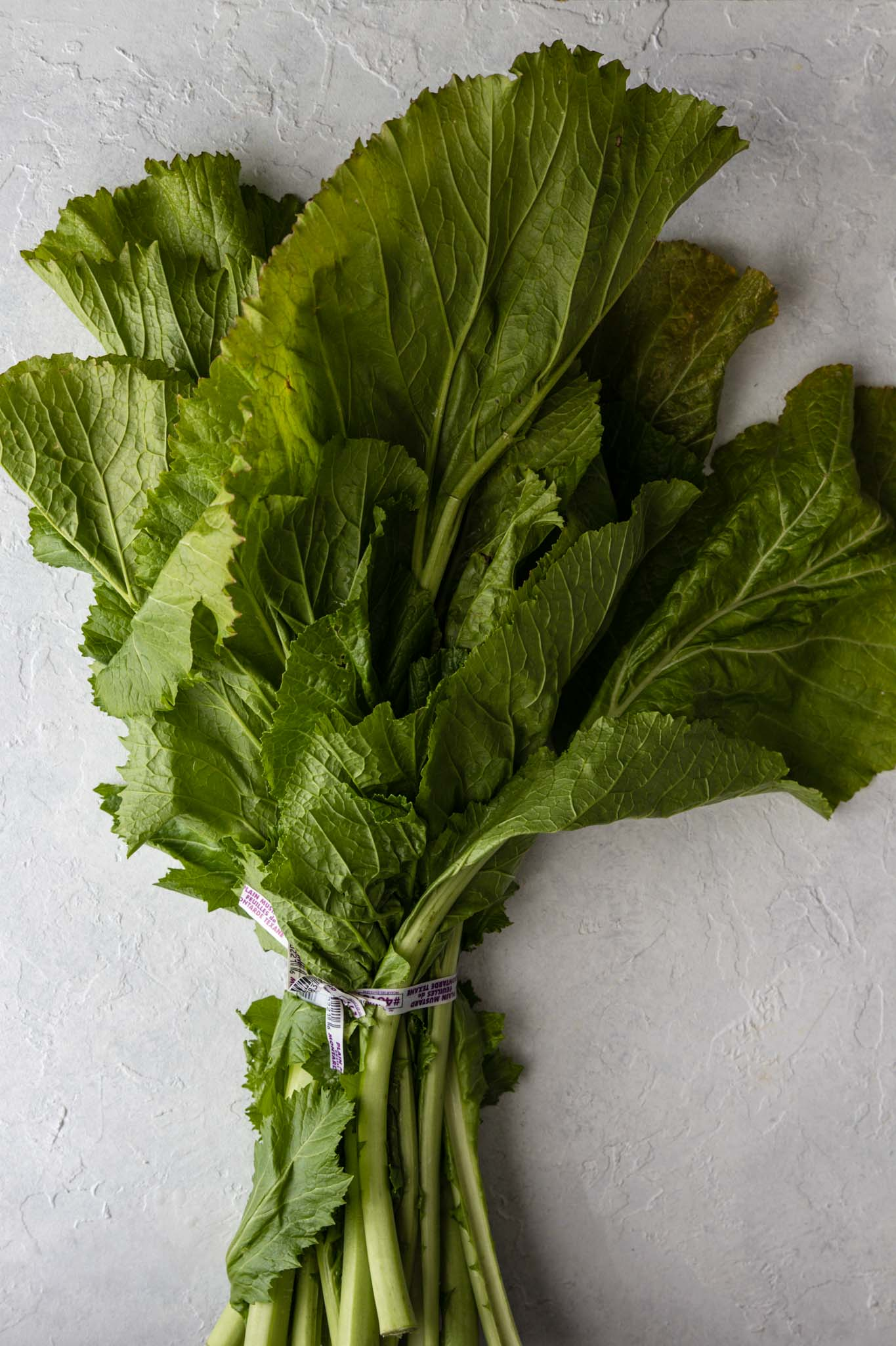 One bunch of Mustard Greens on a white surface
