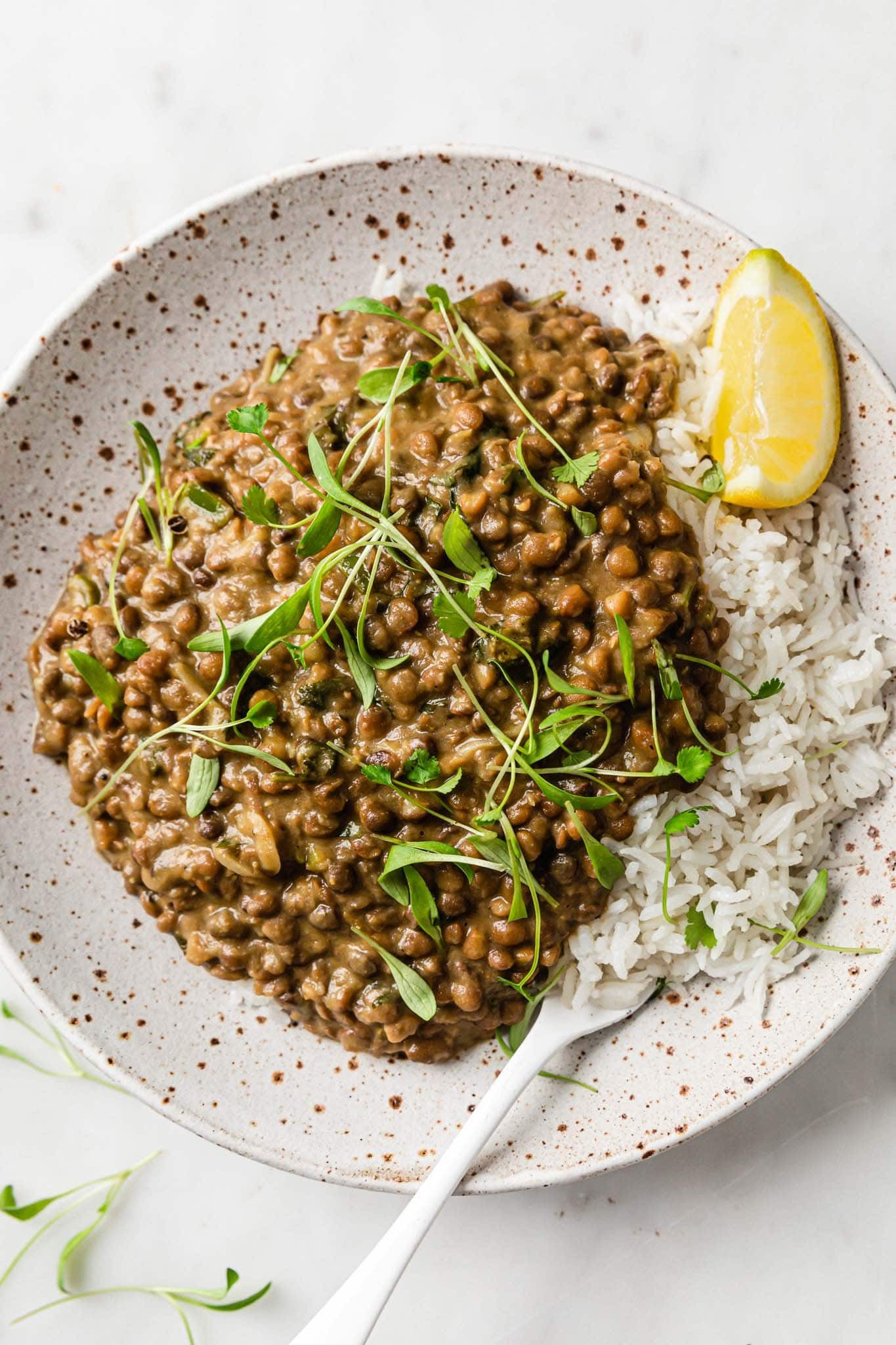 Instant Pot Whole Masoor Dal (Brown Lentil Curry) in a speckled plate garnished with cilantro and served with a lemon wedge on the side