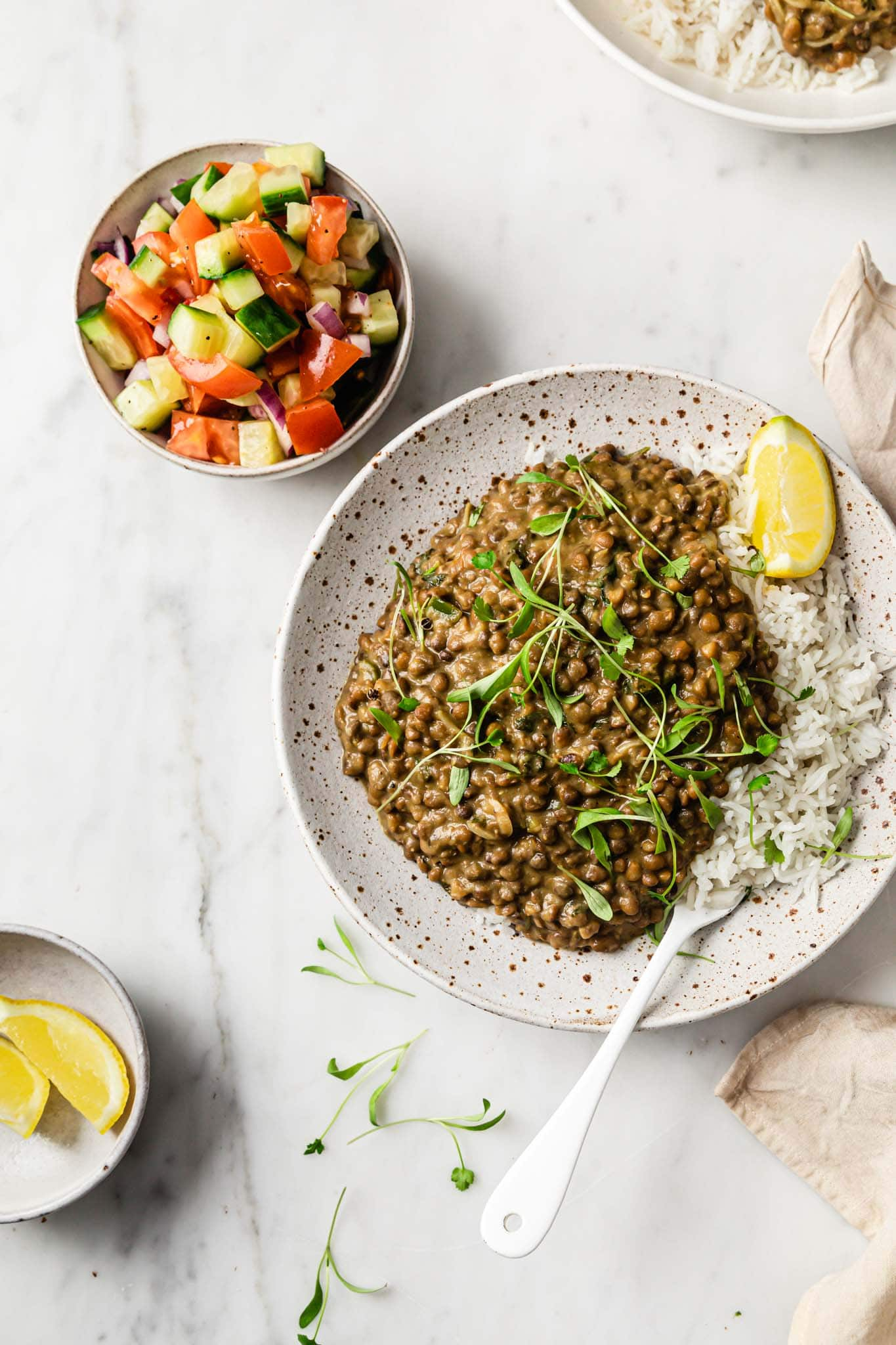 Brown Lentil Curry (Whole Masoor Dal) served with a chopped salad of crunchy vegetables on the side
