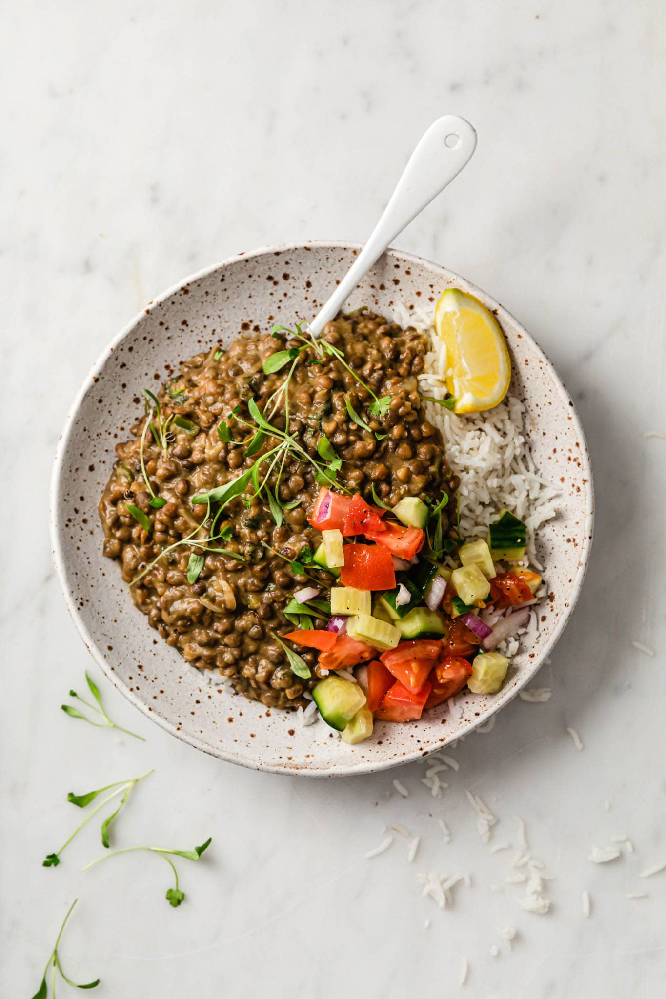 Instant Pot Whole Masoor Dal (Brown Lentil Curry) in a speckled plate with a white spoon