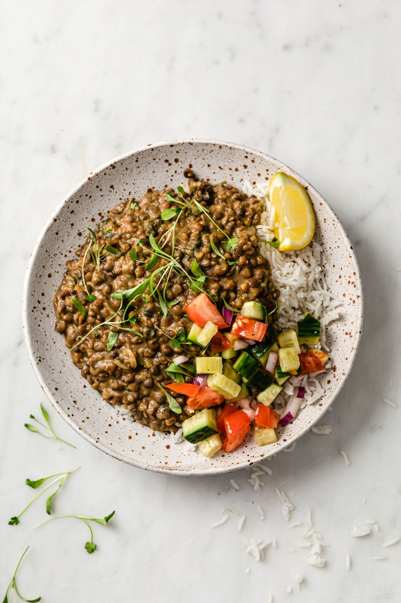 Instant Pot Whole Masoor Dal (Brown Lentil Curry) in a speckled plate garnished with cilantro with crunchy vegetables and a lemon wedge on the side