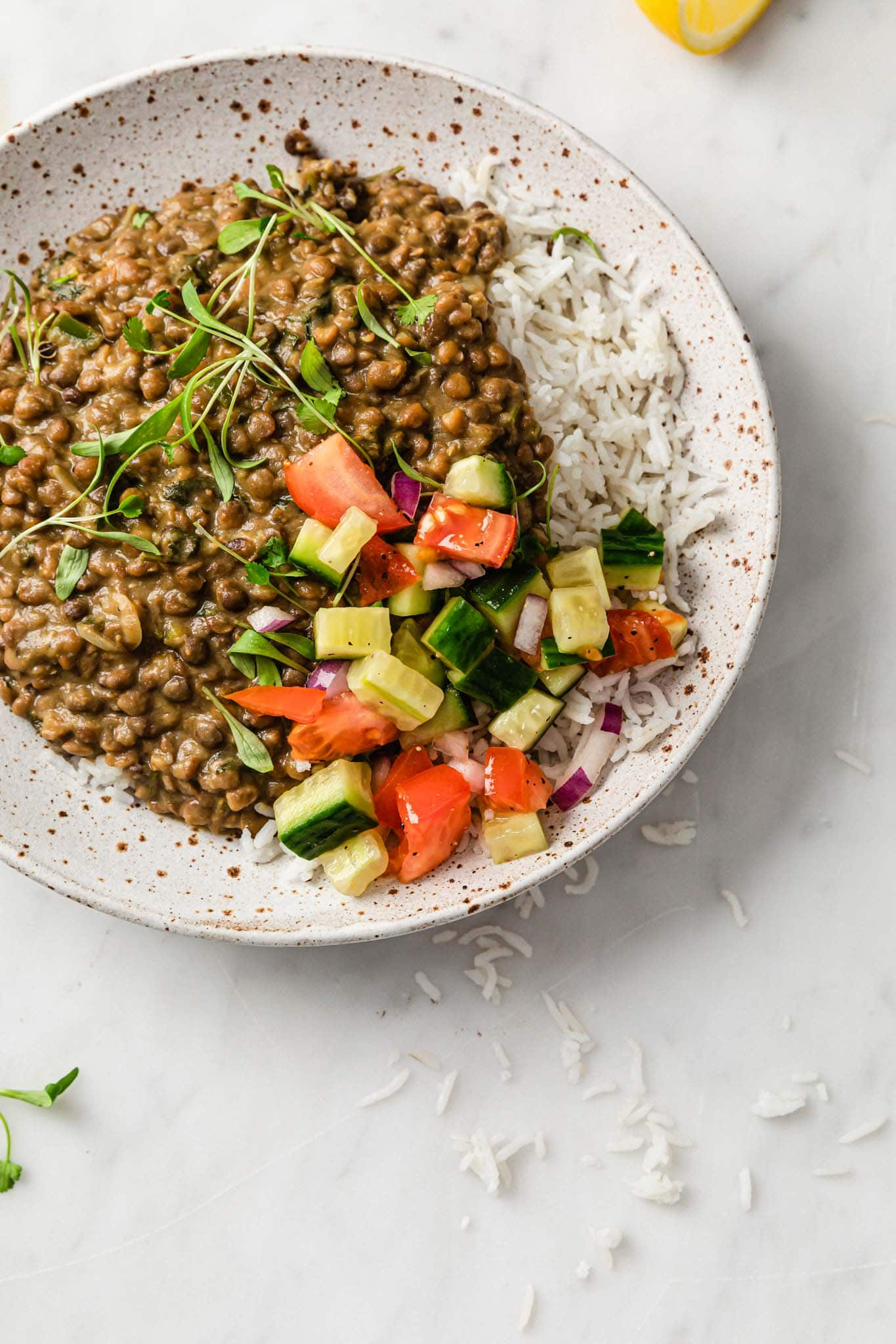 Instant Pot Whole Masoor Dal (Brown Lentil Curry) and basmati rice in a speckled plate with crunchy vegetables on the side