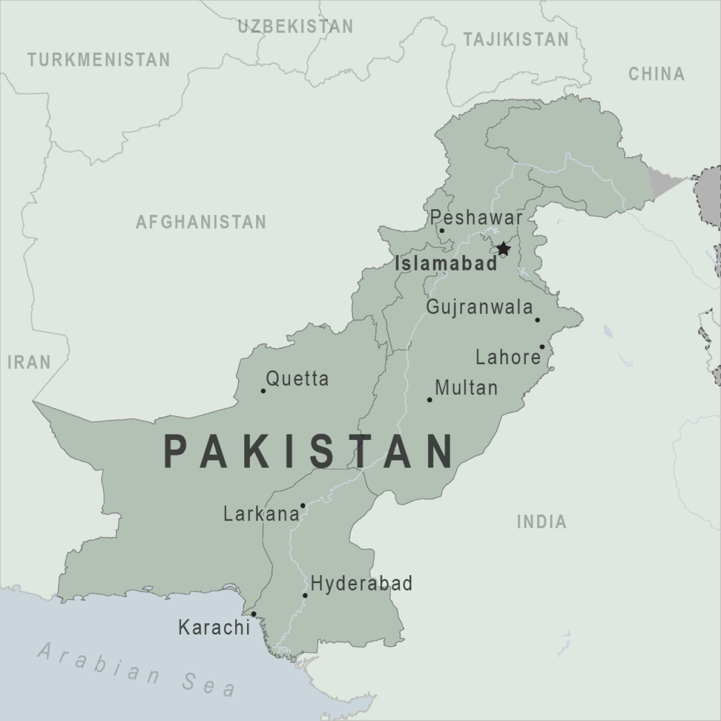A map of Pakistan from https://wwwnc.cdc.gov/