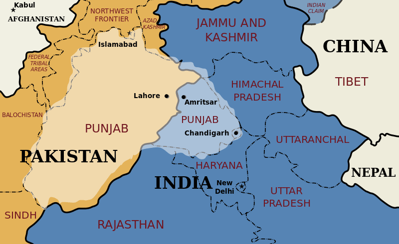 A map of Punjab in Pakistan and India
