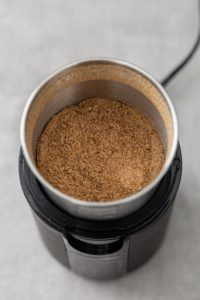 Ground Homemade Chaat Masala in a spice grinder