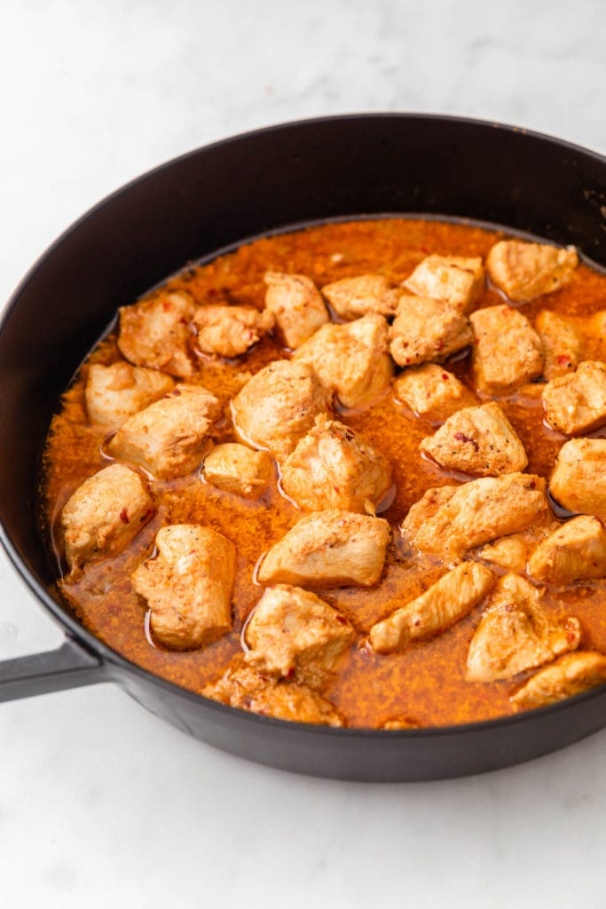 Cooked Chicken Curry in a skillet