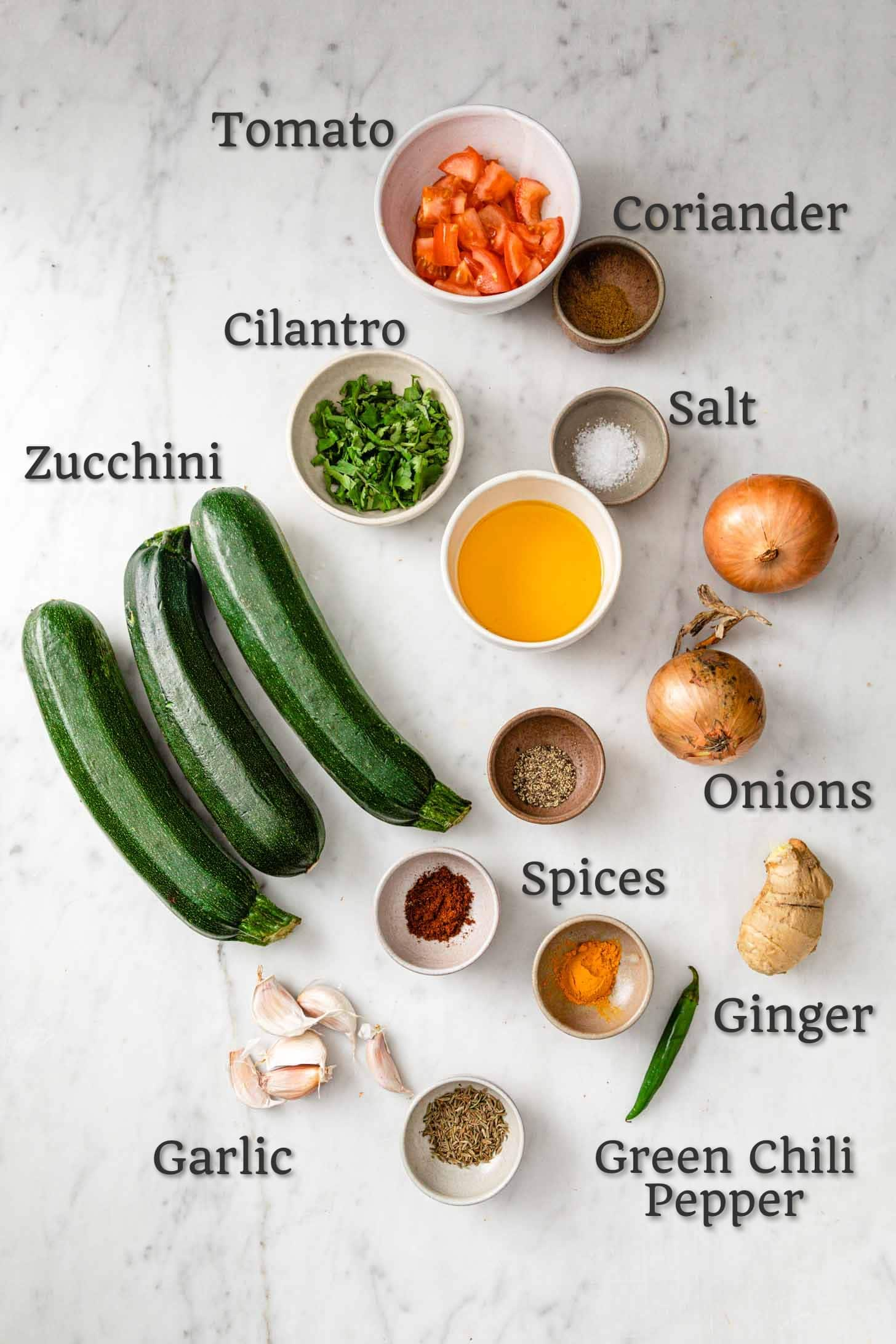 Zucchini (Courgette Curry) Ingredients